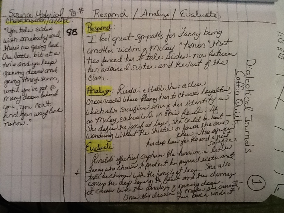 dialectial journal sampel a How to keep a dialectical journal the word  the sample dialectical journal on  this page is one student's work while reading hatchet by gary paulsen ideally.